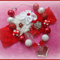 VALENTINES NECKLACE headband set, childrens, girls, toddler, baby, red and white, photo prop, photography bubblegum, chunky