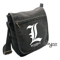"Death Note: ""Messenger Bag (Small) - ""L Motif"" (HEAVY DUTY) : TokyoToys.com: UK Based e-store, Anime Toys Retail & Wholesale, Manga Action Figures,  Hentai Statues, Japanese Snacks, Pocky, DVDs, Gashapon,  Cosplay, Monkey Shirt, Final Fantasy, Bleach, Naru"