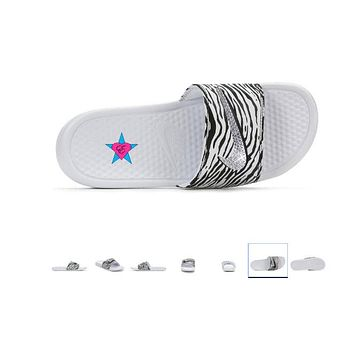 Women Bling out Nike Slides  Zebra