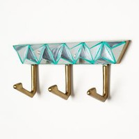 Mirror Mosaic Hook Rack by Anthropologie in Green Size: One Size Wall Decor