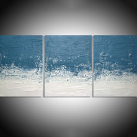 "ARTFINDER: "" Turquoise Persuasion ""  extra large triptych 3 piece impasto painting for home or office 54 x 24"" by Stuart Wright - "" Turquoise Persuasion ""  extra large triptych ..."