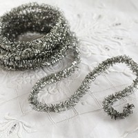 Curly Wired Tinsel Trim - Aged Silver Loopy Metallic Christmas Craft Ribbon, 3 Yds.