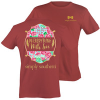 Simply Southern Preppy Do Everything With Love Roses T-Shirt