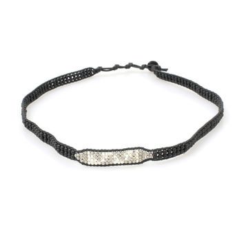 Beaded Headband in Silver + Black