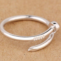 Womens Mens 925 Silver Originality Ring Love Adjustable Ring Gift 29