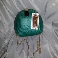 Gorgeous Vintage 80s Teal BEQUIZO Straw Woven Purse - with Gold Tone Chain and Closure - Handmade in Philippines
