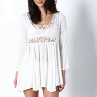 WHITE CUT OUT CROCHET CREPE DRESS