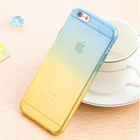 Blue and Yellow Candy Color Gradient Soft TPU Clear Transparent Phone Protector Case Cover Shell For iPhone 4 4S 5 5S SE 6 6S 6 Plus 6S Plus