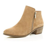 River Island Womens Beige suede zip side ankle boots