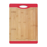 Bamboo Cutting Board W Handle Red Rubber
