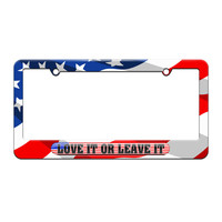 Love It Or Leave It - USA Country Flag - License Plate Tag Frame - American Flag Design