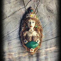 Goddess of Nature Queen of the flowers ooak Fully hand Sculpted clay pendant free shipping