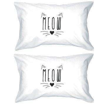 Meow Pillowcases Standard Size Cat Lover Pillow Covers High Quality