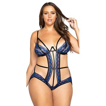 Sexy One Thing Right Plus Size Glitter Cutout Crotchless Teddy