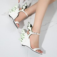 New high-heeled summer women's shoes with large-sized white shoes and flaming sandals