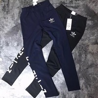 """Adidas"" Letter Print Women Stretch Leggings Sweatpants Exercise Fitness Sport Pants Trousers"