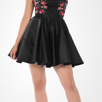 Black High Neck Embroidered Bodice Satin Homecoming Dress