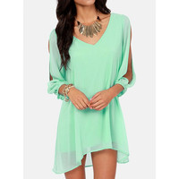 Chiffon Open Sleeve V-Neck Dress