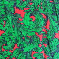 Green and red fabric/ vintage green filagree fabric/ 1 yard and 16""