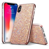 DCCK2JE iPhone X Case, ESR Glitter Bling Hard Cover with Dual Layer Structure [Hard PC Back Outer + Soft TPU Inner] for Girls Women [Support Wireless Charging] for iPhone X /iPhone 10 (2017)(Metallic Peach)