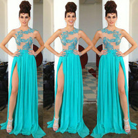 Sexy Light Blue Long Prom Dresses 2016 With Sequin Lace Applique Off The Shoulder Floor Length Prom Party Dress Vestidos