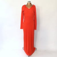 Vintage 1970s Maxi Dress with Hood 70s SportyWild Cherry Red Cotton Hooded Dress Boho Beach Cover Up SoCal Retro Caftan Hippie Day Dress