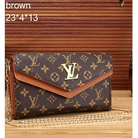 LV 2018 counter new trend fashion high quality leather handbag metal chain bag F-MYJSY-BB Brown