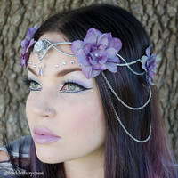 Silver and lavender elven crown - headdress accessory