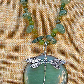 Green Moonstone & Sterling Silver Dragonfly Necklace, Statement Necklace, Prehnite, jade, fluorite, gift for mom, natural stone