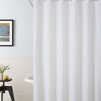 "Royal Bath 2 in 1 Fabric Front Shower Curtain with Peva Non-Toxic Liner Backing - White (72"" x 72"")"