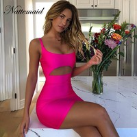 NATTEMAID Solid Color Pink Summer Dresses Women Backless Sleeveless Strapless Sexy Dress Bodycon Sheath Mini Dress Vestido