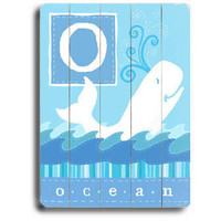 Personalized Ocean Whale Wood Sign