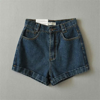 Summer Women's Fashion High Rise With Pocket Slim Shorts Jeans [4918908548]