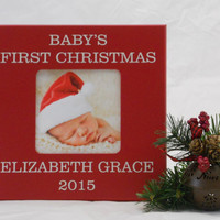 Baby's First Christmas Personalized Frame, Holiday Decor Frame, Xmas 2016, Newborn First Christmas Gift, Photo Frame Gifts for Boy or Girl