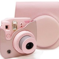 Woodmin Pink Vintga PU Leather Fuji mini case bag Fujifilm Instax Mini 8 Case
