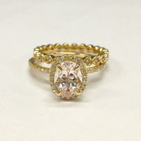 Diamond Wedding Ring Sets!Morganite Engagement Ring 14K Yellow Gold,6x8mm Oval Cut Morganite,Claw Prongs,Eternity Matching Band,Stackable