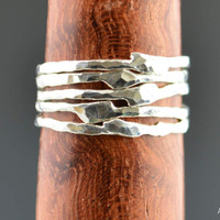 Thin Free Form Silver Stacking Rings
