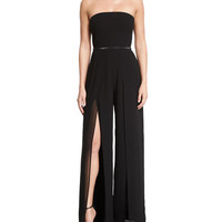 Strapless Belted Wide-Leg Jumpsuit w/Thigh-High Slits