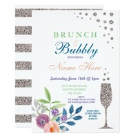 Brunch & Bubbly Bridal Shower Silver Floral Invite