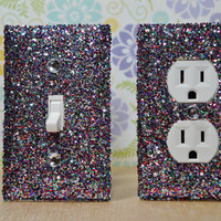 SET Chunky MULTICOLOR Glitter Swichplate Outlet Covers ANY Styles