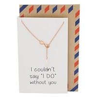 Marah Infinity and Pearl Necklace, Bridesmaid Gifts, with Inspirational Quote (Rose Gold Tone)