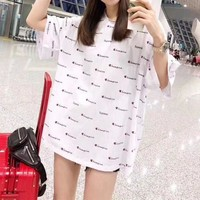 Champion Casual  Pattern  Round Neck  Short Sleeve Edgy  T-shirt  Multicolor  Mini Dress