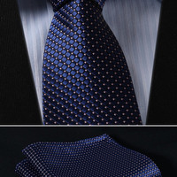 "Dot Check Striped Check  3.4"" 100% Silk Jacquard Woven Classic Man's Tie Necktie#H9"