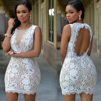 White Lace Mini Bodycon Dress