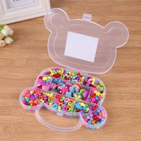 350pcs Assorted Kids Girls Plastic DIY Beads Kit Accessories DIY Bracelet Toys Jewelry Chain Making Accessories Educational Toys