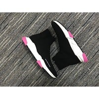 Balenciaga Speed In Black Knit And White/pink Sole Unit Trainers