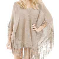Pullover Cape Knit Fringed Cover Up Poncho Beachwear