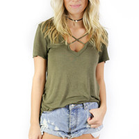 With Or Without You Olive Short Sleeve Top