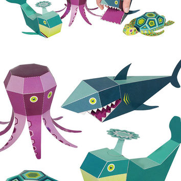 Sea Animals Paper Toys - DIY Paper Craft Kit - 3D Paper Animals - 4 Sea Animals