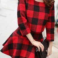 Red-Black Plaid Print Pleated Two Piece Cute Skater Flannel Mini Dress
